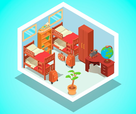 Hostel concept banner. Isometric banner of  hostel vector concept for web, giftcard and postcard  イラスト・ベクター素材