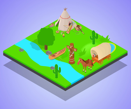 Native inhabitant concept banner. Isometric banner of native inhabitant vector concept for web, giftcard and postcard