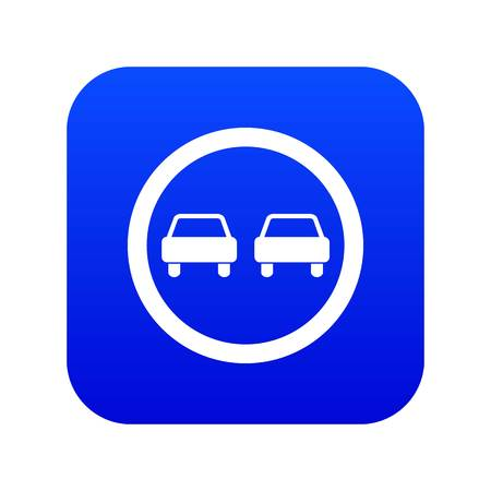 No overtaking road traffic sign icon digital blue for any design isolated on white vector illustration Vettoriali