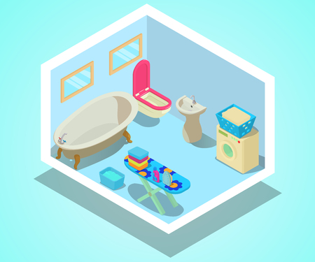 Bathroom concept banner. Isometric banner of bathroom vector concept for web, giftcard and postcard