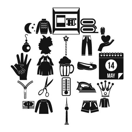Apparel icons set, simple style
