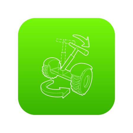 Inclined hoverboard icon green vector