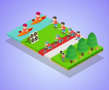 Sport park concept banner. Isometric banner of sport park vector concept for web, giftcard and postcard Illusztráció