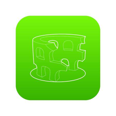 Coliseum icon green vector