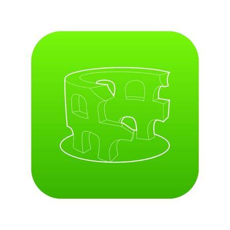 Coliseum icon green vector