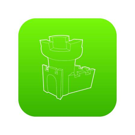Castle tower icon green vector Ilustrace