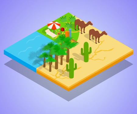 Oasis concept banner. Isometric banner of oasis vector concept for web, giftcard and postcard
