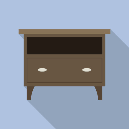 Nightstand icon. Flat illustration of nightstand vector icon for web design Vectores