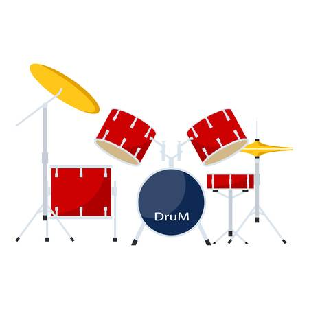 Drums kit icon, flat style  イラスト・ベクター素材
