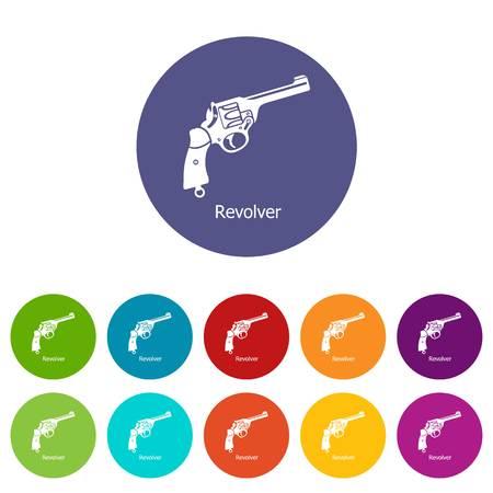 Revolver icons set vector color