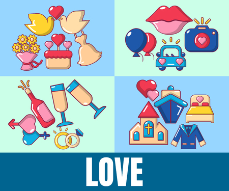 Love concept banner. Cartoon banner of love vector concept for web, giftcard and postcard Vettoriali