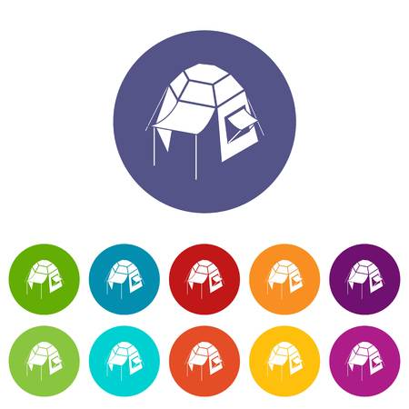 Camping tent icons set vector color Illustration