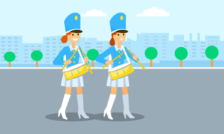 Drums girls parade banner. Flat illustration of drums girls parade vector banner for web design