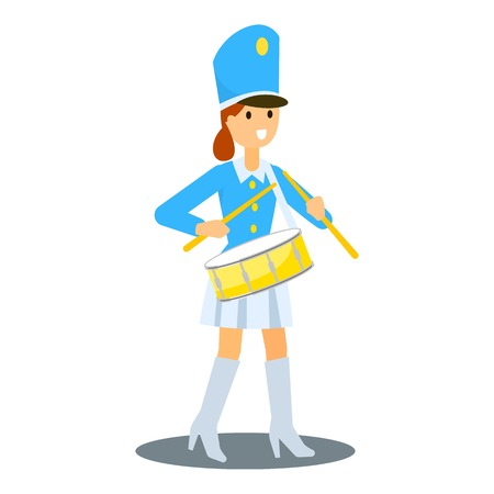 Drums girl icon. Flat illustration of drums girl vector icon for web design