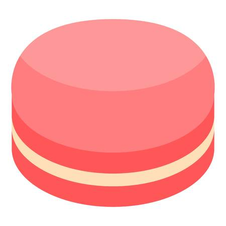 Red macaroon icon, isometric style