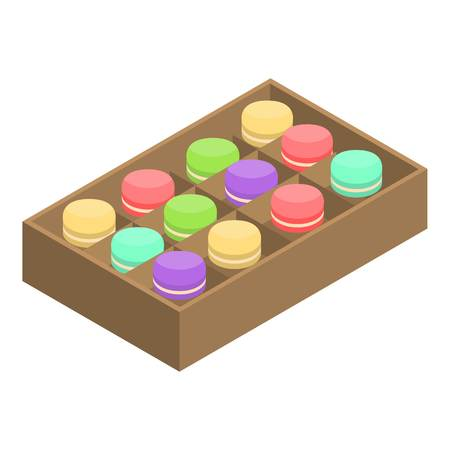 Open macaroon box icon. Isometric of open macaroon box vector icon for web design isolated on white background Illustration