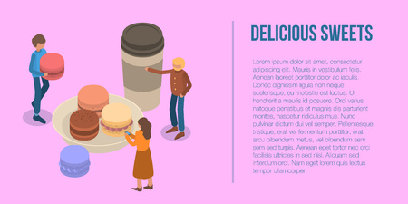 Delicious sweet macaroon banner. Isometric illustration of delicious sweet macaroon vector banner for web design