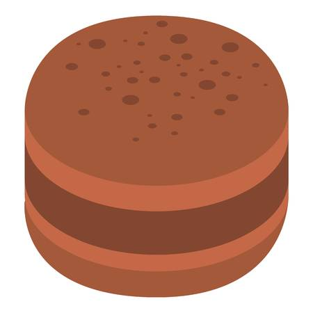 Choco macaroon icon. Isometric of choco macaroon vector icon for web design isolated on white background