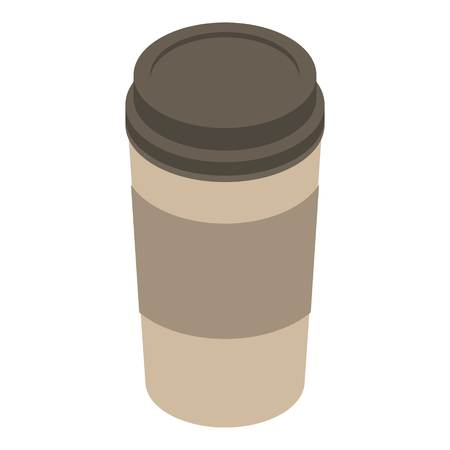 Plastic coffee cup icon. Isometric of plastic coffee cup vector icon for web design isolated on white background