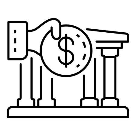 Deposit money bank icon. Outline deposit money bank vector icon for web design isolated on white background