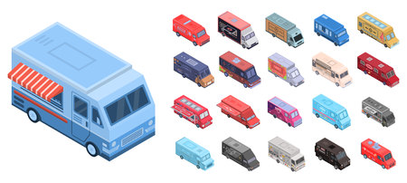 Food truck icons set. Isometric set of food truck vector icons for web design isolated on white background