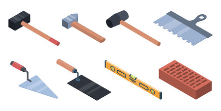 Masonry worker icons set. Isometric set of masonry worker vector icons for web design isolated on white background