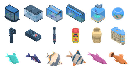 Aquarium icons set, isometric style