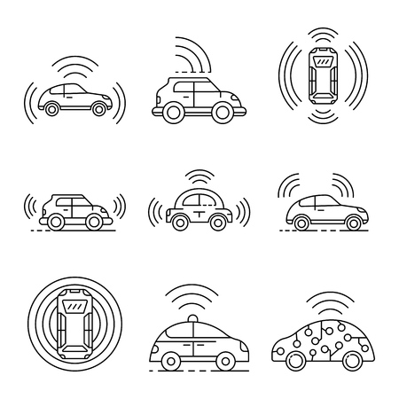 Driverless car icons set, outline style