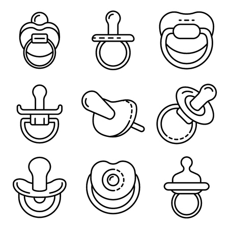 Pacifier icons set. Outline set of pacifier vector icons for web design isolated on white background
