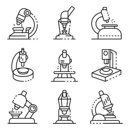 Microscope icons set, outline style
