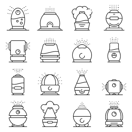 Humidifier icons set, outline style