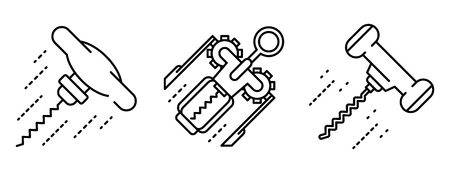 Corkscrew icons set, outline style