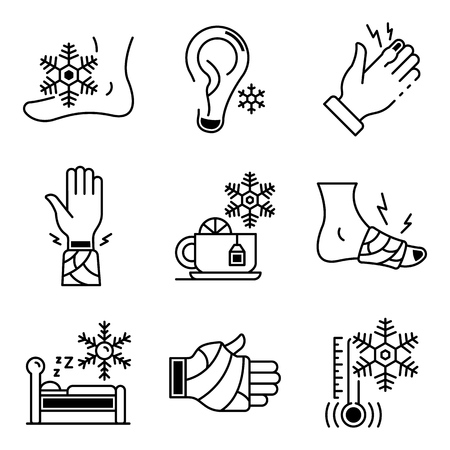 Frostbite icons set. Outline set of frostbite vector icons for web design isolated on white background 일러스트