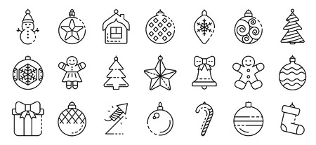Christmas tree toys icons set, outline style
