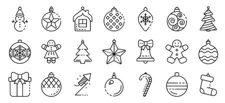 Jeu d'icônes de jouets d'arbre de Noël, style de contour