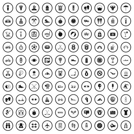 100 active life icons set in simple style for any design vector illustration Çizim