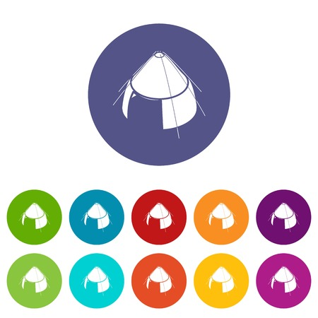 Conic tent icons color set vector for any web design on white background
