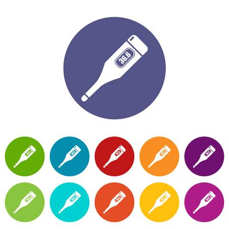 Digital thermometer icons color set vector for any web design on white background