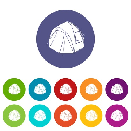 Hiking tent icons color set vector for any web design on white background