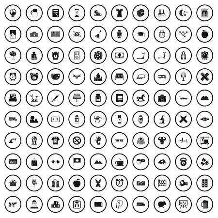 100 alarm clock icons set in simple style for any design vector illustration