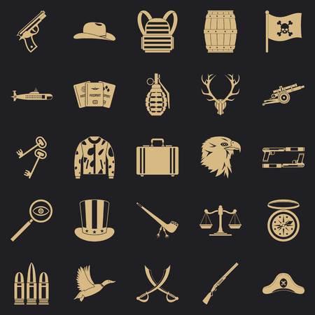 Slug icons set, simple style
