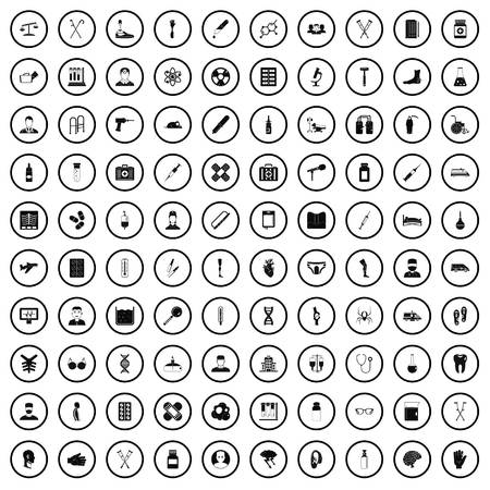 100 ambulance icons set in simple style for any design vector illustration
