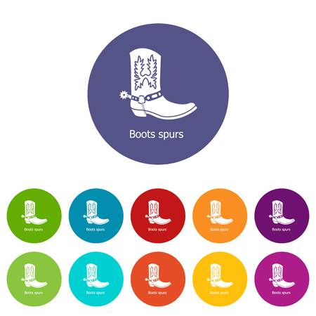 Boot spurs icons color set vector for any web design on white background Illusztráció