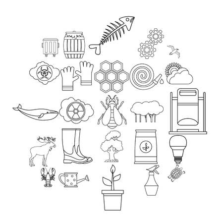 Natural destruction icons set. Outline set of 25 natural destruction vector icons for web isolated on white background