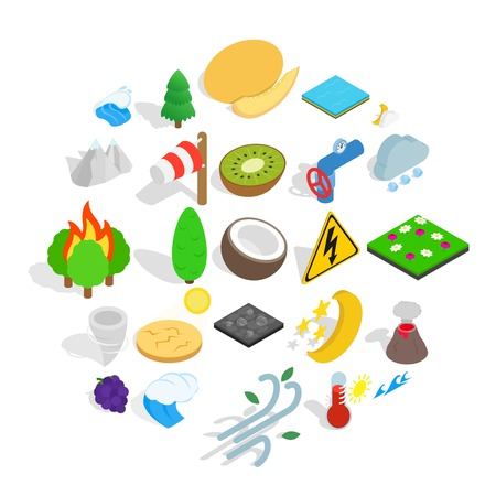 Nature activity icons set, isometric style