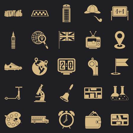 Bus icons set, simple style