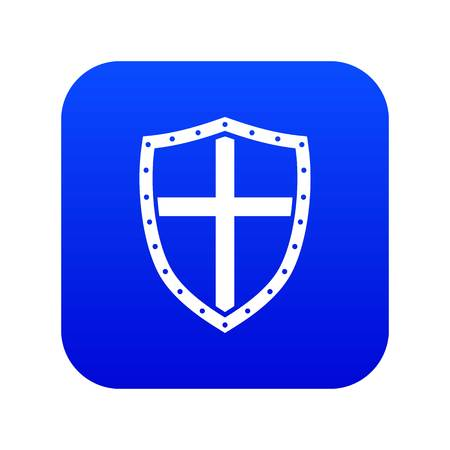 Shield icon digital blue for any design isolated on white vector illustration Illustration