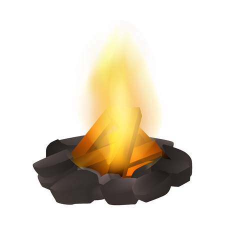 Bonfire icon. Realistic illustration of bonfire vector icon for web design isolated on white background