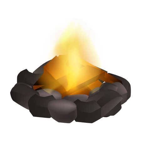Wood campfire icon. Realistic illustration of wood campfire vector icon for web design isolated on white background
