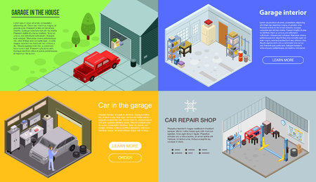 Garage interior banner set. Isometric set of garage interior vector banner for web design Ilustracja